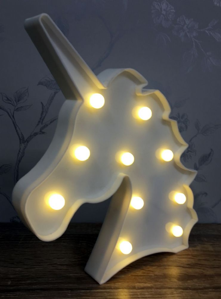 WHITE LED Light Up Unicorn Head Circus Light ~ Freestanding or Wall Hanging